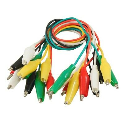 """10 Pcs Meter Colored Insulating Alligator Clip Test Lead Cable 10.8"""" S4R1"""