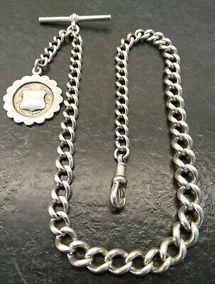 Antique Edwardian Graduated Silver Albert Pocket Watch Chain & Fob. 1906-07 41g.