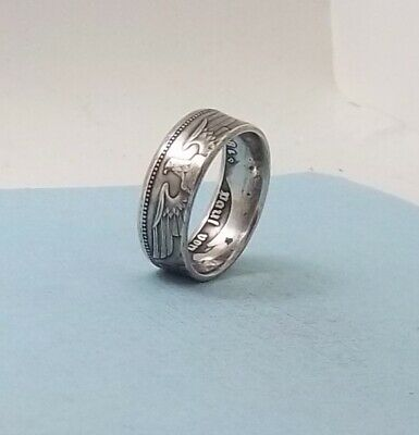 Unique Third Reich WWII 1936 German 5 mark 90% silver coin ring size 10