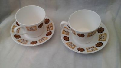 Royal Vale bone china cup & saucer x 2, in autumnal decor, Pattern No. 8216