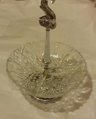 Attractive Vintage Handcut Crystal serving dish,  Sterling footed & Fish Handle