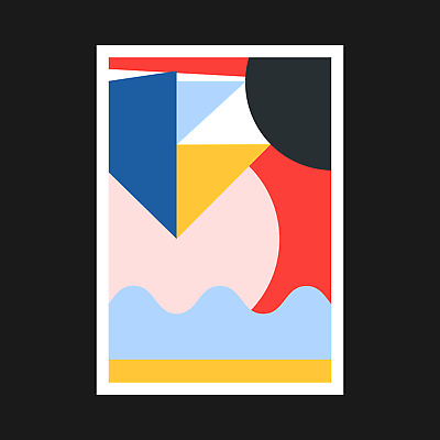 Colourful Abstract Geometric Art Print Poster - Interior Wall Decor - A5 A4 A3