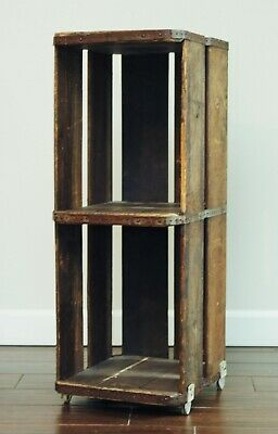 Antique LARGE Wood Crate-Tall Vintage Storage Crate Shelf- Rolling Rustic Shelf-