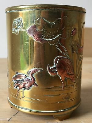 MEIJI antique JAPANESE bronze & copper SHAKUDO mixed metal CRANES 3 footed POT