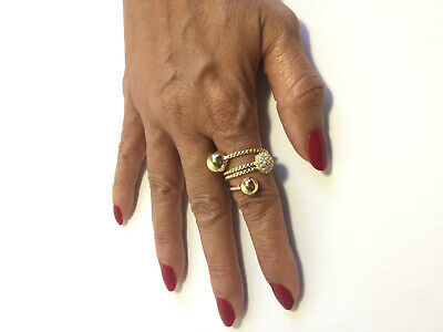 14K Gold Plated Ring With Ball Ends And 1 Half Round Ball Cz Encrusted J 194