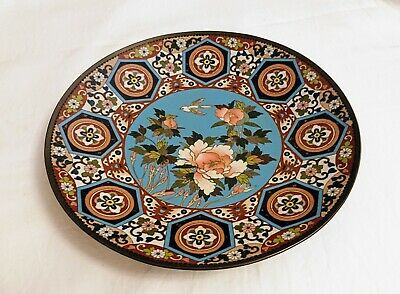 Antique 19Th C Meiji Period Japanese Cloisonne Shallow Dish Charger 9.5 Inches