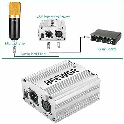 Neewer Phantom Power Kit Channel 48V Power Supply Adapter XLR Audio Cable Silver