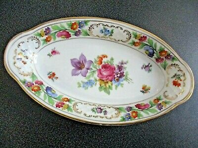"Vintage Schumann Empress Dresden Flowers 9.5"" Oval Candy Serving Dish Bavaria"