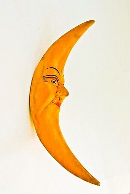 Pair Of 2 Rare Hand Crafted Wood Crescent Moon Decorative Hanging Ornaments