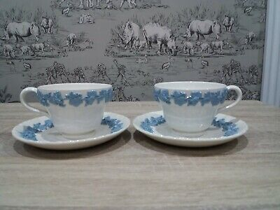 WEDGWOOD 'QUEENSWARE' c1942, 2 Large Cup/Saucer Sets - 1st/2nd Quality READ INFO