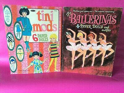 Vintage 1967-68 'Tini Mods' & 'The Ballerinas' Paper Dolls & Clothing by Whitman