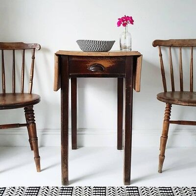 Drop Leaf Utility Rustic Farmhouse Pine Kitchen Table With Drawer & 2 Chairs