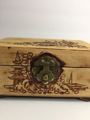Hand Carved Vintage Exotic Wood Asian Theme Mirrored Jewelry Box