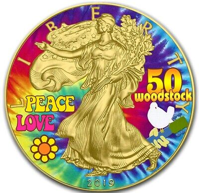 2019 1 Oz Silver $1 WOODSTOCK EAGLE Coin WITH 24K GOLD GILDED.