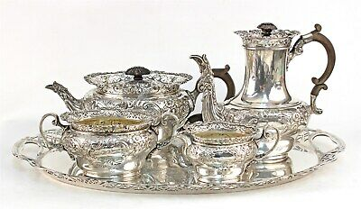 Exceptional Victorian Sterling Tea & Coffee Service Wm Comyns London 1899
