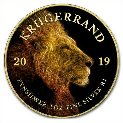 2019 1 Oz Silver South Africa BIG FIVE LION KRUGERRAND Coin WITH 24K GOLD.