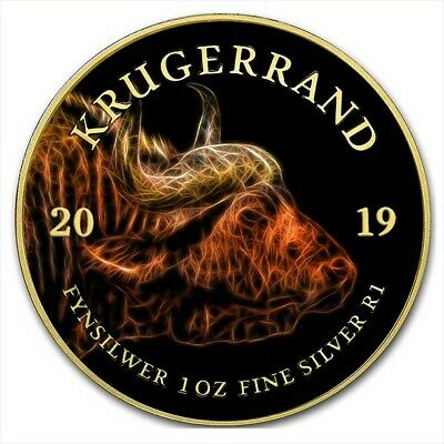 2019 1 Oz Silver South Africa BIG FIVE BUFFALO KRUGERRAND Coin WITH 24K GOLD.