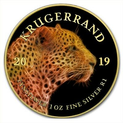 2019 1 Oz Silver South Africa BIG FIVE LEOPARD KRUGERRAND Coin WITH 24K GOLD.
