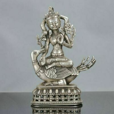 Exquisite Chinese Collectable Tibet Silver Hand Carved Kwan-yin & Duck Statue RT