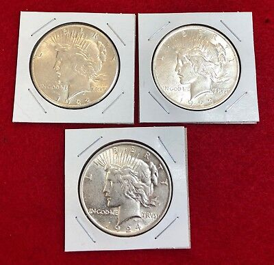 Lot of 3 Peace Silver Dollars -90% Silver - US Coin 1922 S,1923 P &1924 P  A#165