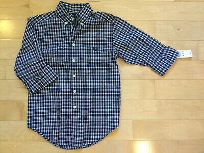 CHAPS Boys Long Sleeves Plaid Button up Dress Shirt Top 100% Cotton Size S 8/10
