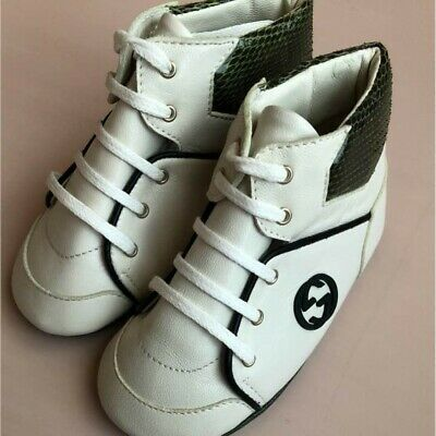5380443940c Gucci Children Baby Unisex first Shoes Sneakers Size 9cm White Black Auth  Unused