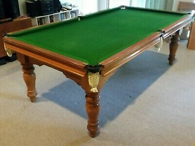 8ft slate pool table with accessories including solid wooden table top