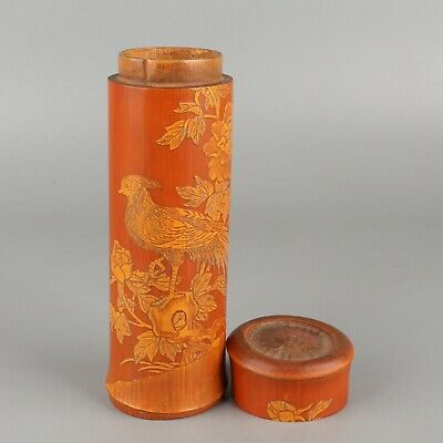 Chinese Exquisite Hand-carved flower bird Carving bamboo pot