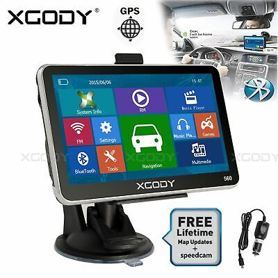 XGODY 5'' SAT NAV GPS Navigation Lifetime Maps with Bluetooth Handsfree Call 8GB
