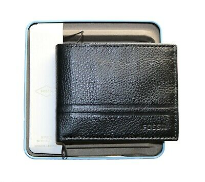 b08a576efd7b MEN'S FOSSIL WATTS Bifold Leather Wallet with Flip ID Color Black ...