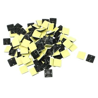 100 Pcs Self Adhesive Cable Tie Mount Base Holder 20 x 20 x 6mm X9E4