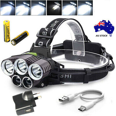 AU 90000LM LED Headlamp Head Light Head Torch Flashlight Camping Lamp 5X XM-L T6