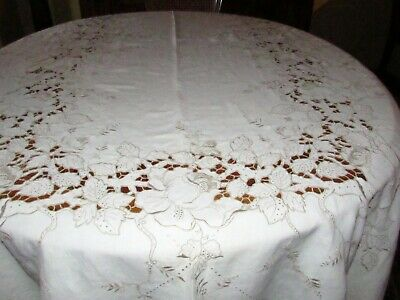 "VINTAGE IVORY LINEN TABLECLOTH with CUTWORK & EMBROIDERY 66"" X 96"" RECTANGULAR"