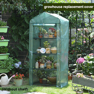 4 Tier Mini Greenhouse Cover Replacement Walk in Growbag Plant Plastic Garden