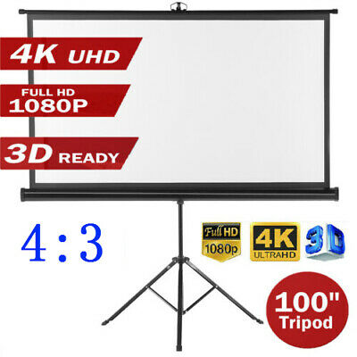 100'' Projector Screen Diagonal 4:3 Home Cinema Movie Projection Stand Tripod