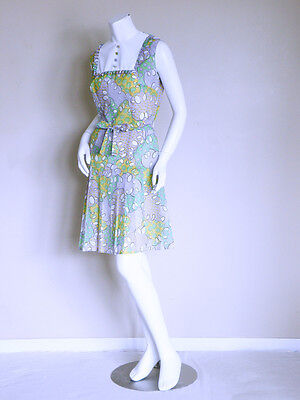 7f8ce419dcc0 vtg 60s KAWAII lolita mod pleated PASTEL GOTH scooter belted hippy MINI  DRESS S
