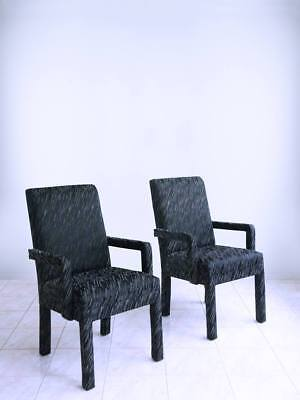 SET of 2 PARSONS ARMCHAIRS post modern hollywood regency art deco dining chairs
