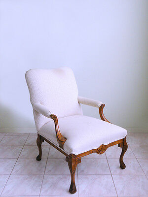 vtg carved FRENCH PROVINCIAL bergere LOUIS XIV cabriolet clawfoot arm chair