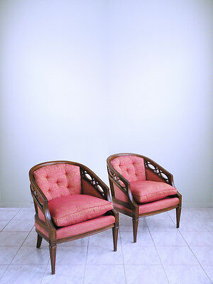 mid century LOUIS XVI slipper french hollywood regency NEOCLASSICAL club chairs