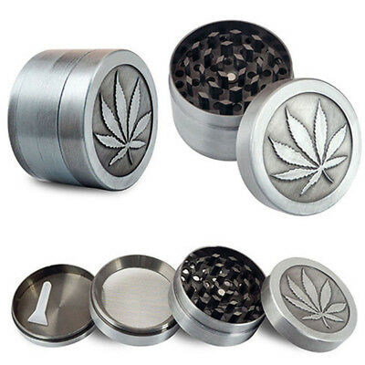 4 layer Zinc Alloy Crusher Leaf Design Tobacco/Weed Smoke Herb Grinder Spice W7
