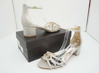 39ab301ef36 Badgley Mischka Sonya Silver Diamond Drill Women s High Heel Bridal Sandals  ...