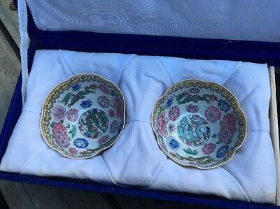 Plique A Jour/ Cloissone A Pair Of Small Fine China Bowls With Wooden Stands