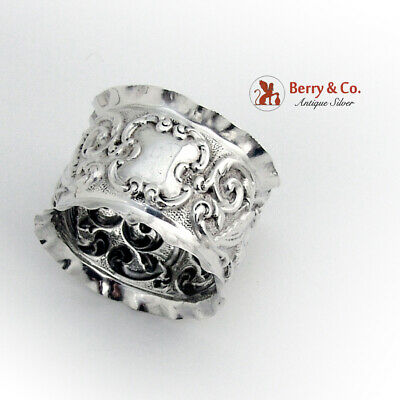 Edwardian Repousse Scroll Cherub Napkin Ring Sterling Silver 1902 Birmingham