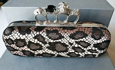2bf6f98bbe6b01 ALEXANDER MCQUEEN PEWTER Glitter Patent Leather Knuckle Box Clutch ...