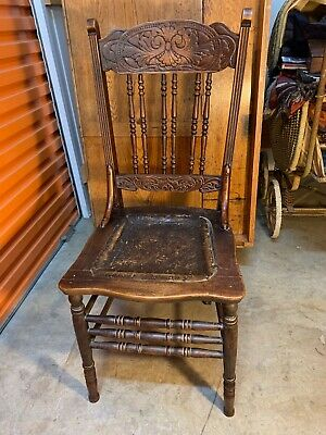 Carved Antique Oak Art Nouveau Kitchen Dining Chair Pressed leather Seat