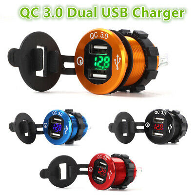 AU Dual USB Quick QC 3.0 Car Charger Socket For Car Boat Motorcycle Vehicle