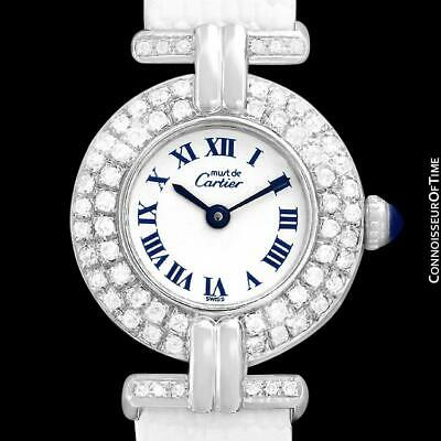 CARTIER COLISEE Ladies Vendome 18K White Gold Plated & Diamond Watch - Mint