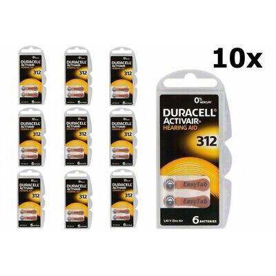UK BL066-10x Duracell ActivAir 312 MF (Hg 0%) Acoustic Hearing Aid Batteries 10x