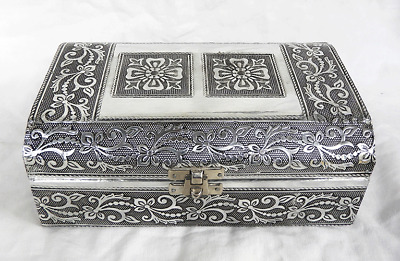 Dome Top Embossed Indian Style Silver Metal Jewellery Box - BNIB