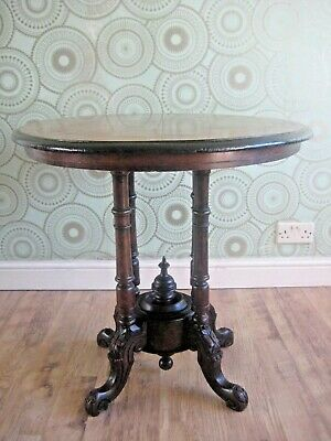 Outstanding  Victorian Marquetry Inlay Mahogany And Walnut Antique Centre Table